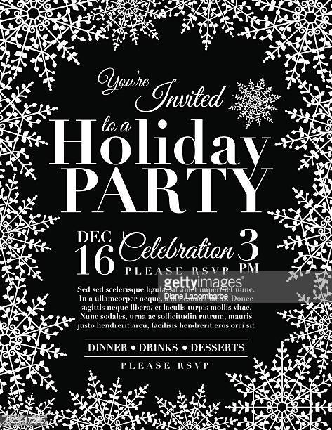 Snowflake Holiday Party Invitation Template - Black