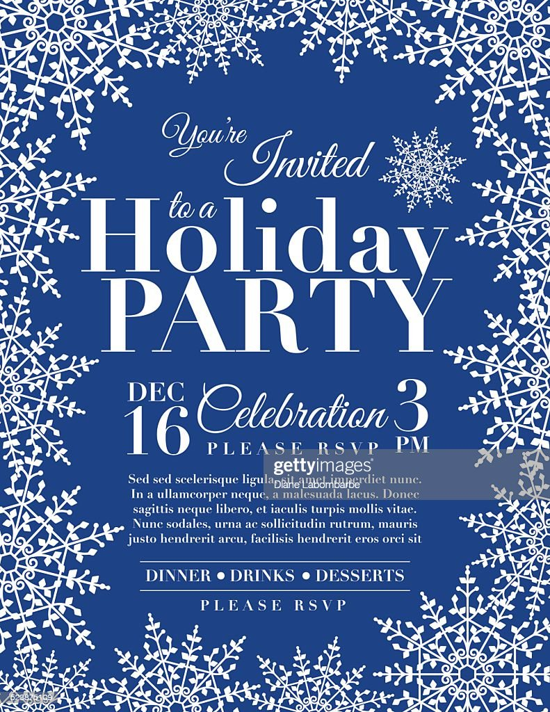 snowflake holiday party invitation template blue vector art getty images. Black Bedroom Furniture Sets. Home Design Ideas