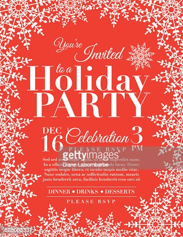 snowflake holiday party invitation template red vector art | getty, Party invitations