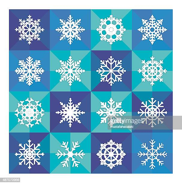 Snowflake icons with mosaic blue background