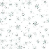 Winter vector pattern with different tipe of snowflakes on white background