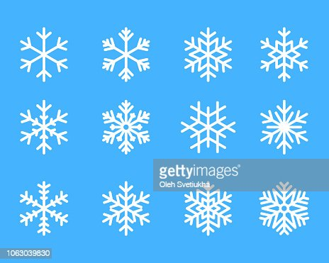 snowflake winter set of blue isolated icon silhouette on white background vector illustration : Vector Art