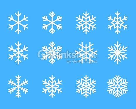 雪の結晶冬セット青分離アイコン シルエット ホワイト バック グラウンド ベクトル イラスト : ベクトルアート