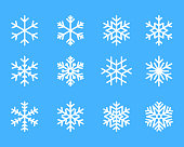 snowflake winter set of blue isolated icon silhouette on white background vector illustration.