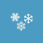 snowflakes icon, isolated, white on the blue background. Exclusive Symbols