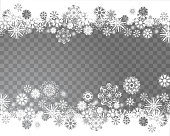 Snowflakes on a transparent background. Abstract snow background for your Christmas design. Place for your text. Vector illustration