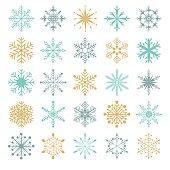 Set of twenty five decorative snowflakes
