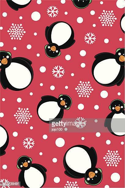 Snowing Penguins Pattern