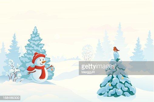 Snowman and a bird : Vector Art