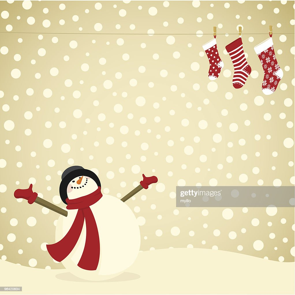 snowman christmas card xmas stocking family vector art getty images