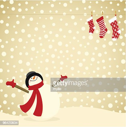 Snowman christmas card & xmas stocking. Family : Vector Art