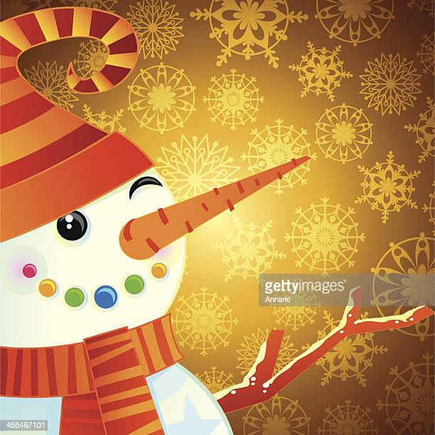 Snowman in Gold Background