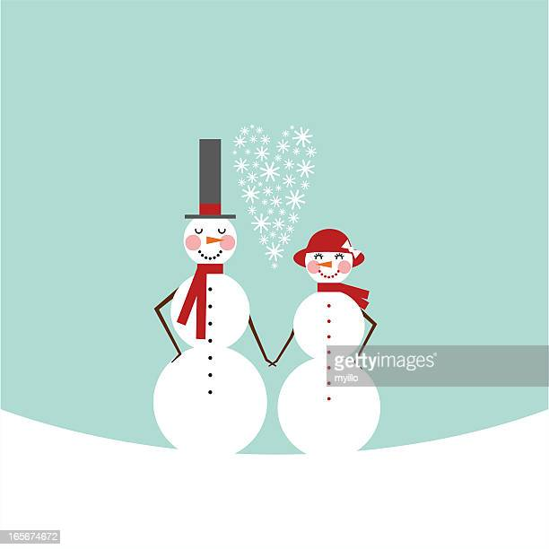 snowman & snowoman. Frosty couple in love. Valentine?s Day