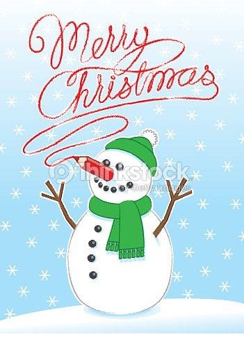 Schreiben Frohe Weihnachten Mit Roten Bleistift Nase Schneemann ...