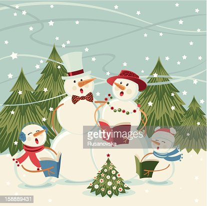 Snowmen Singing Carols : Vector Art