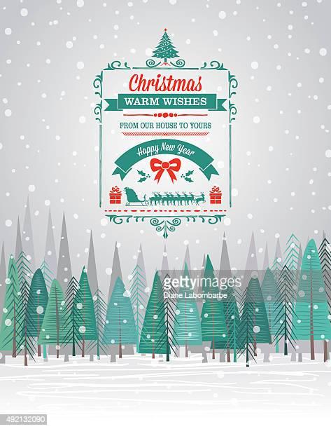 Snowy Weihnachtskarte mit Wald und Urlaub eine saisonale Dekoration