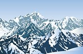 Vector illustration of winter mountain peaks. EPS 10.