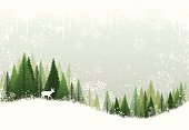 Green and white winter forest grunge background design.