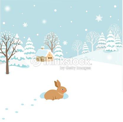 Snowy winter landscape with rabbit