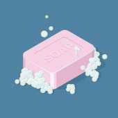 Pink Soap Bar with bubbles. Isometric vector illustration