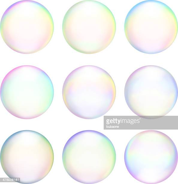 Soap Bubbles royalty free vector icon set Set & Variety