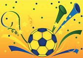 Festive sport background with soccerball.