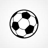 Soccer ball icon. Flat vector illustration in black on white background. EPS 10