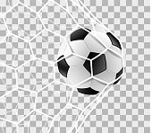 Soccer ball in a goal net isolated background