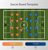Soccer Football Board Infographic Template with icons