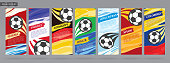 Vector design set that can be used for football tournaments.