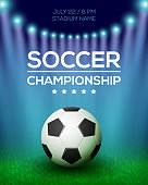 Soccer Championship Poster Design. Football Banner Template. Vector illustration.