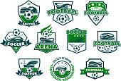Soccer sport club badge with football stadium. Soccer ball, sporting arena and winner trophy cup heraldic shield with ribbon banner, wreath and star for football championship or team emblem design