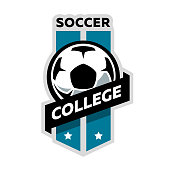 Soccer college logo, football emblem Vector illustration