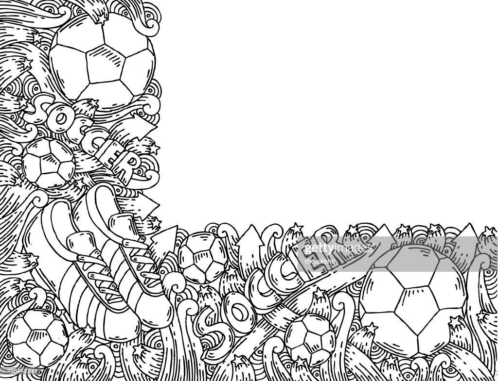 Sport Wallpaper Doodle: Soccer Doodles Background Vector Art