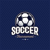 Modern professional soccer tournament symbol with ball. Sport badge for team, championship or league. Vector illustration.