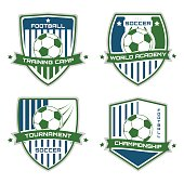 Set of soccer emblems. Football isolated on a white background. Sport vector illustration.