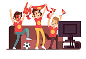 Soccer fans and friends watching tv on couch. Football match supporting people vector illustration. Football fan watch game match on tv