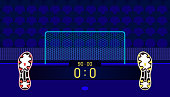 soccer field. football boots different team match show name bar time and score on center point. a goal in front of fan club chair. beautiful color background. vector illustration eps10