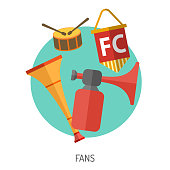 Soccer and Football Flat Icon Set for Flyer, Poster, Web Site like Fan, Vuvuzela and Drum.