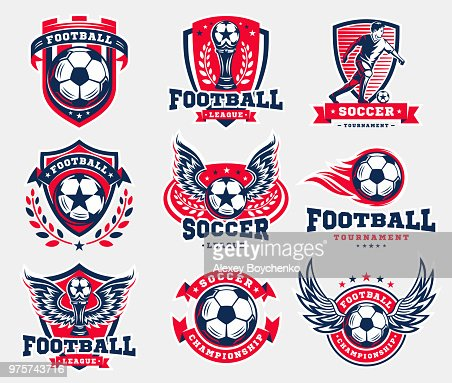 Soccer football emblem collections : stock vector