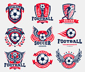 Soccer football design, emblem collections, designs templates on a light background.