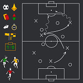 Black Soccer football field with icon set, whistle, stopwatch, yellow and red card, players, flag, ball, cone