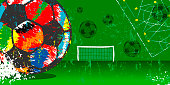 Soccer / Football grunge style illustration,great soccer event this year, multicolored soccer ball.
