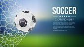 Soccer game match goal moment with ball in the net, mesh. Football ball in goal. Banners for football or soccer games, tournaments, championships. Template for posters and invitations. 3D illustration