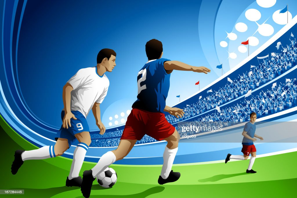 Soccer Game with Crowded Stadium : Vector Art