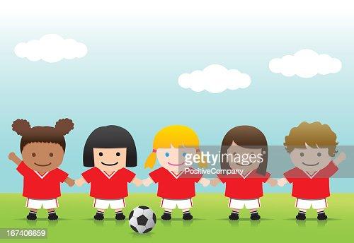 Soccer Girls : Vector Art