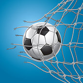 Soccer Goal. Soccer ball or football breaking through the net of the goal. Created with adobe illustrator.