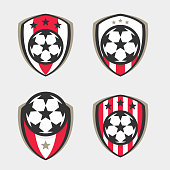 Soccer icon or Football Club Sign Badge Set