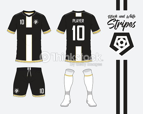Fútbol Jersey Fútbol Kit Colección O En Concepto De Rayas Blanco Y ...