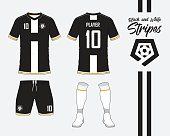 Soccer jersey or football kit collection in black and white stripes concept. Football shirt mock up. Front and back view soccer uniform. Football logo in flat design. Vector Illustration.